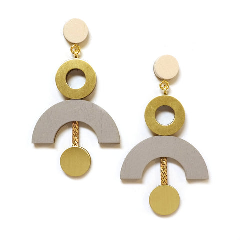 Phase Earrings Brass Wooden Statement Earrings