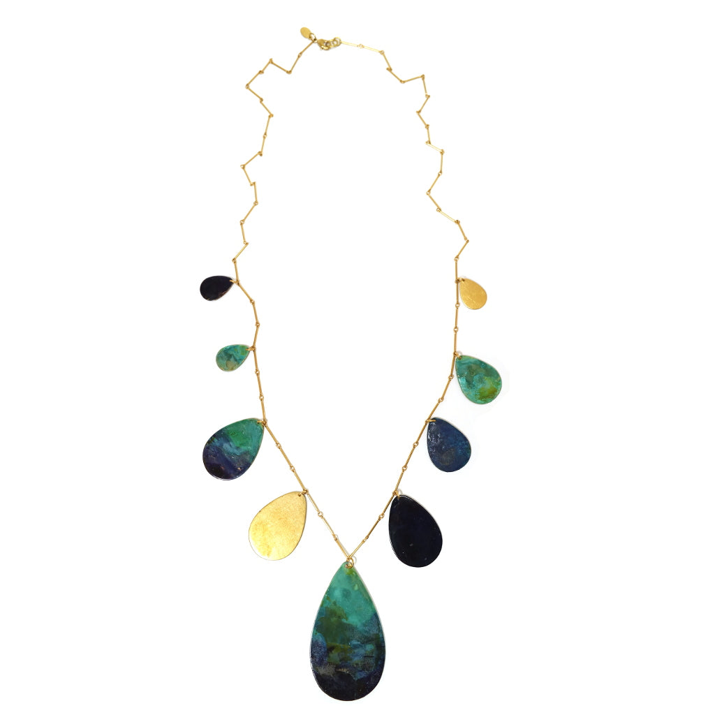long brass navy painted teardrop charm statement arty necklace