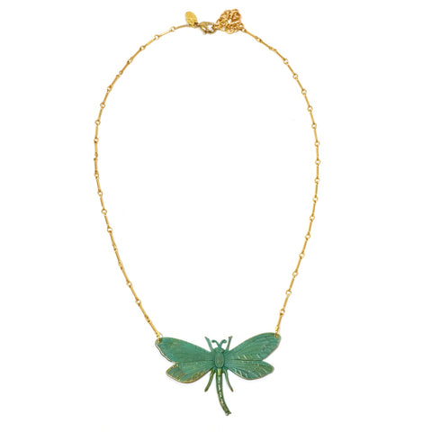 Brass Green Verdigris Dragonfly Necklace