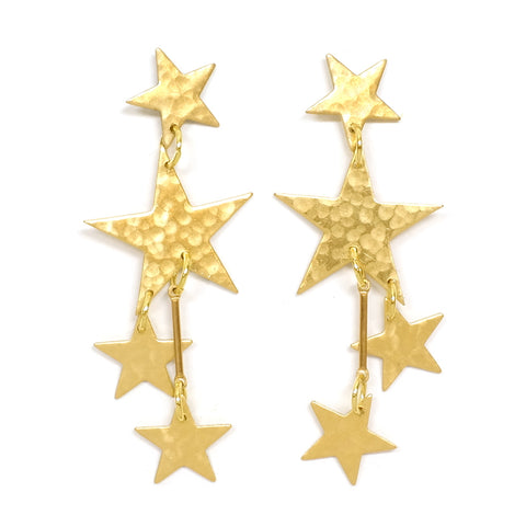 Brass Star Little Galaxy Statement Earrings