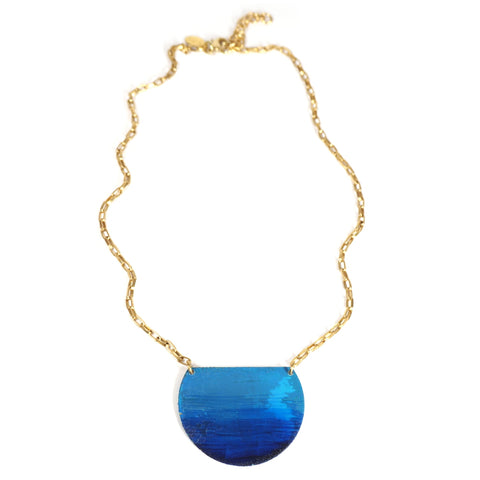 Little Lazuli Petite Half Disc Blue Ombre Necklace