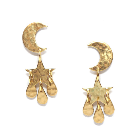 Moon and Star Small Brass Drop Earrings Main Image