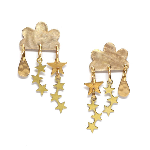 Nite Nite Cloud and Star hammered brass earrings