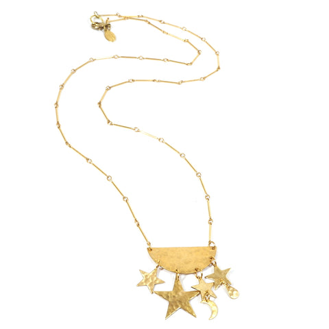 Brass Stars and Moon Little Galaxy Long Necklace