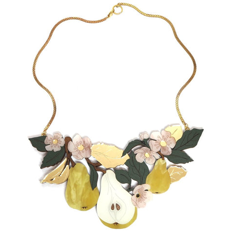 Acrylic Pear and Blossom Flora Statement Necklace