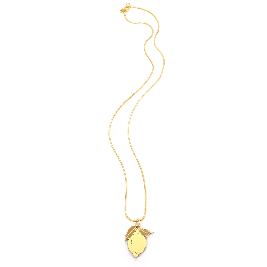 Yellow and Gold Acrylic Lemon Necklace