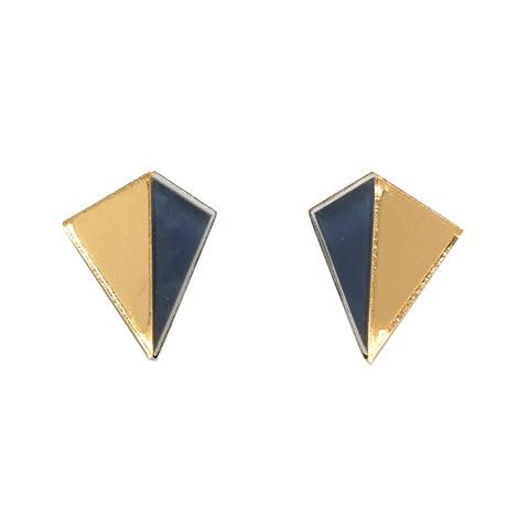 Kite SHaped Acrylic Perspex Stud Earrings in Gold Mirror and Navy