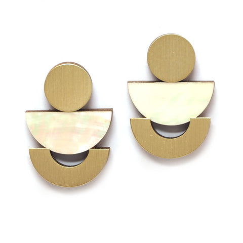Mother of Pearl Luna Brass Studs