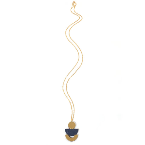 Wooden and Brass Luna Pendant in Navy