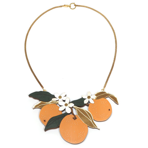 Wolf and Moon - Orange Orchard Statement Necklace - Acrylic, Brass and Wood