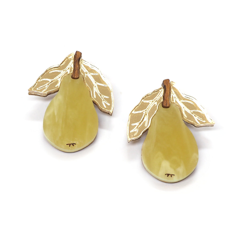 Acrylic Green and Gold Pear Earrings