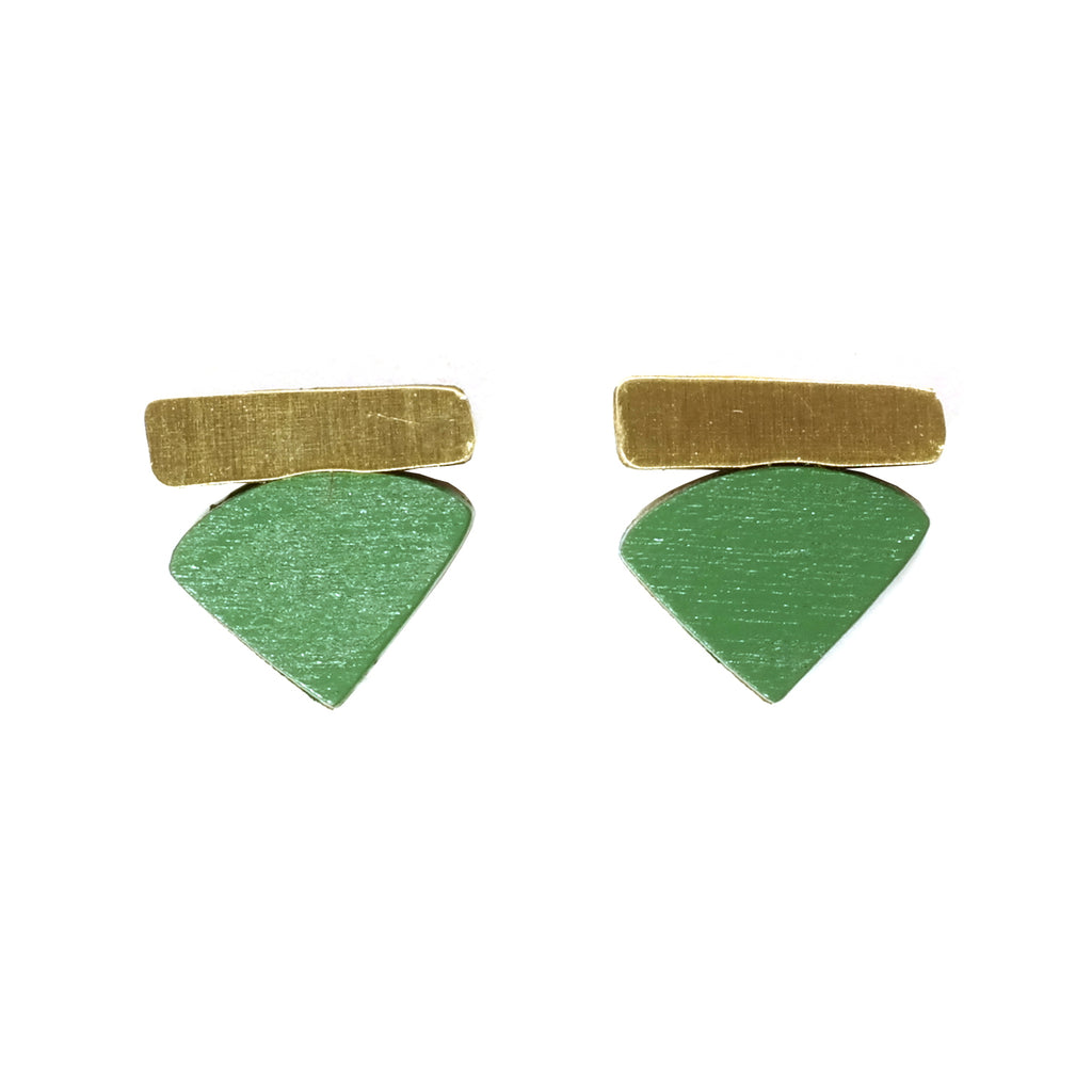 Wooden Fade Studs in Brass and Fern Green