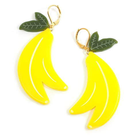 Large Acrylic Banana Earrings