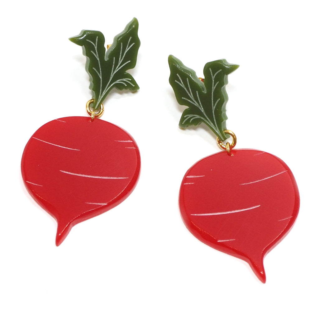 Large Acrylic Red Beetroot Earrings