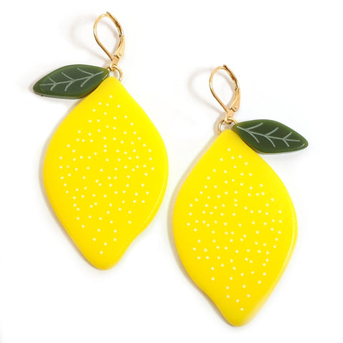 Large Acrylic Lemon Earrings
