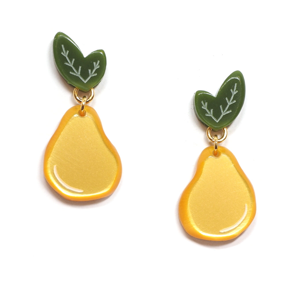 acrylic golden pear earrings