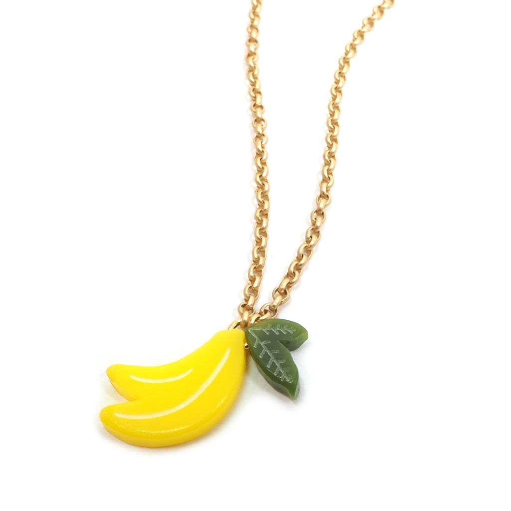 Woll - Small Acrylic Banana Necklace on Gold Chain