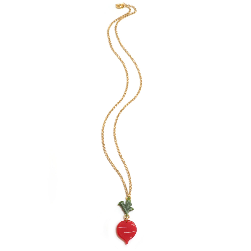 Woll - Small Acrylic Beetroot Necklace on Gold Chain