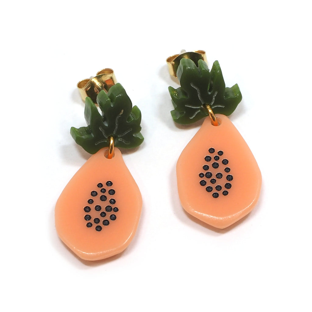 Woll - Acrylic small papaya earrings