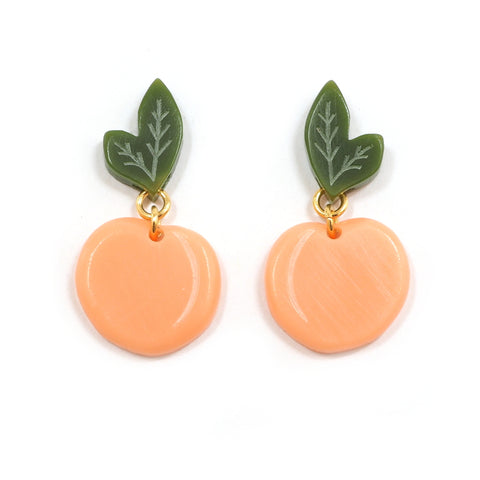 Woll - Small Acrylic Peach Earrings