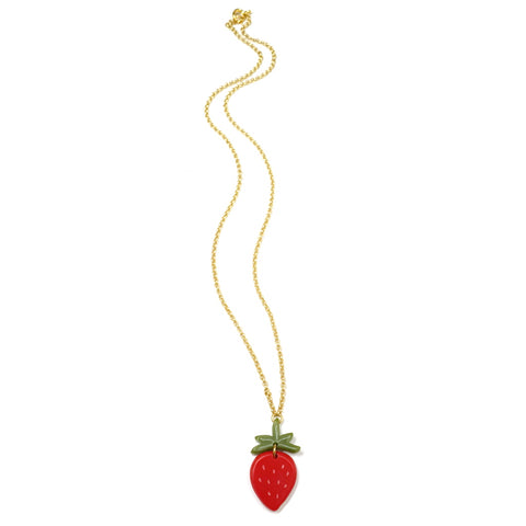 Woll Jewellery Acrylic Strawberry Necklace - Full Length