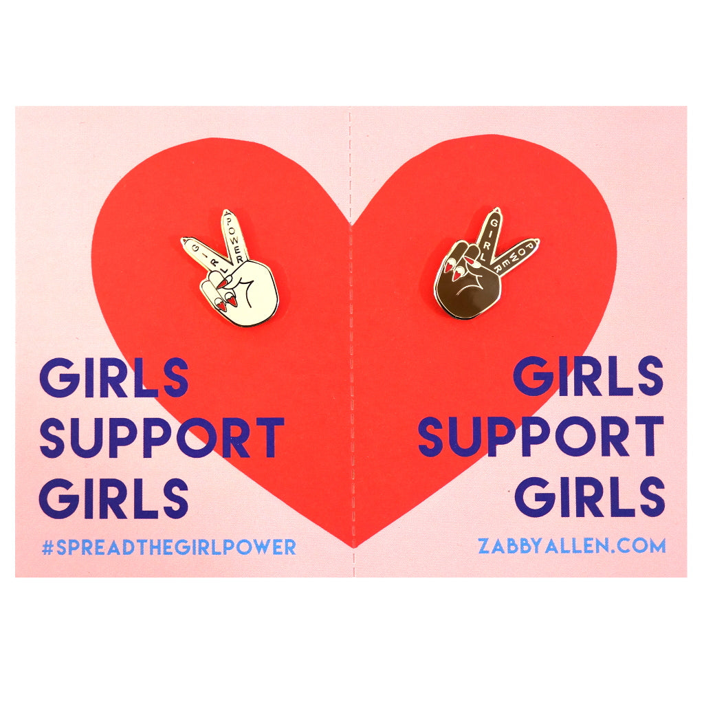 Girls Support Girls BFF Girl Power Peace Sign Enamel Metal Pin Brooch on Display Card