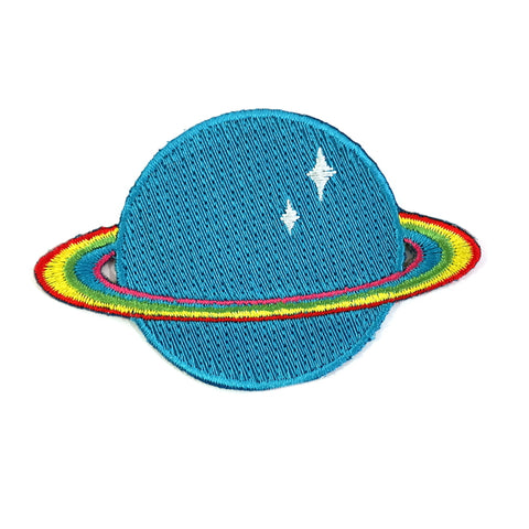 You're Outta This World Rainbow Saturn Embroidered Iron On Patch