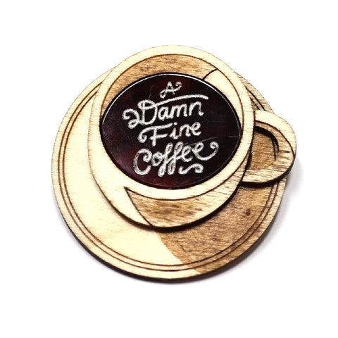 twin peaks a damn fine coffee acrylic and wooden brooch by kate rowland