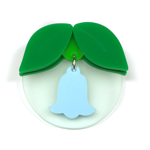 acrylic bluebell brooch in green and blue i am acrylic