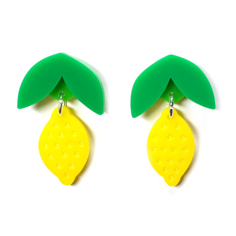 dangly acrylic yellow lemon earrings i am acrylic