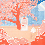 ANO Blossom riso print - close up, man and vending machine under cherry blossom tree
