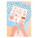 Bento box risograph print in pink, red and blue. Delicate food illustration.