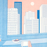 ANO studio riso print - close up detail of cityscape skyscrapers