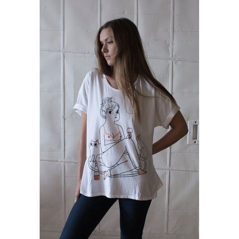 another night in cat wine girl in underwear loose tee t-shirt by stay home club