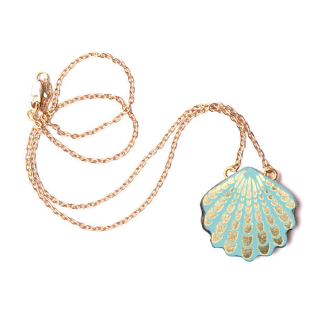 Wave Shell Necklace in Aqua