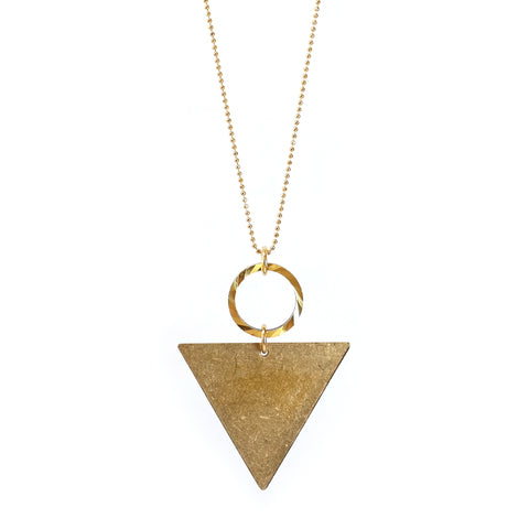 Chiko Brass Triangle and Hoop Long Necklace