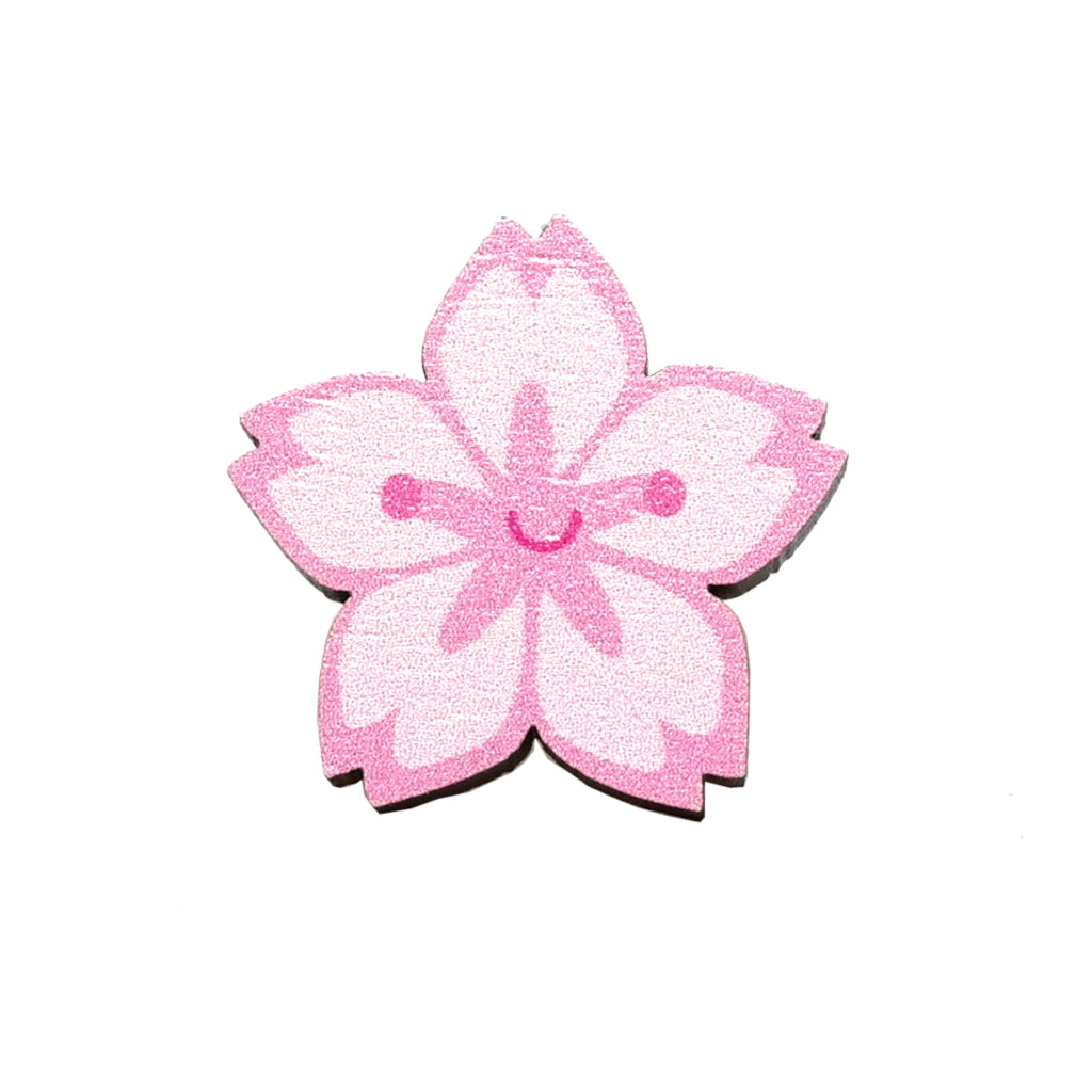 Cute pink sakura cherry blossom flower with kawaii smiley face - wooden pin badge