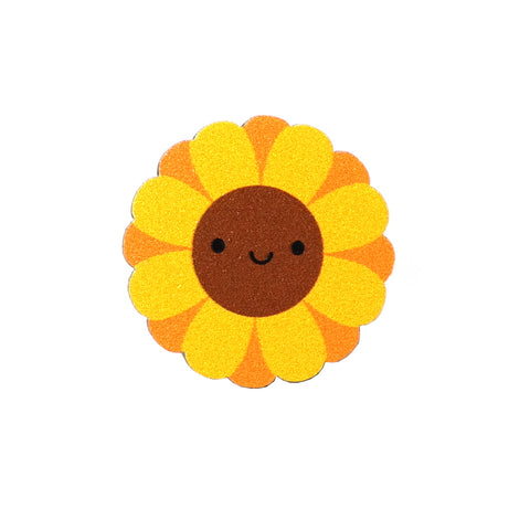 Cute yellow and brown sunflower with smiley kawaii face - wooden pin badge