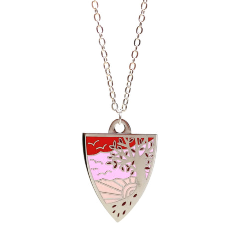 cute affordable autumn tree necklace in silver