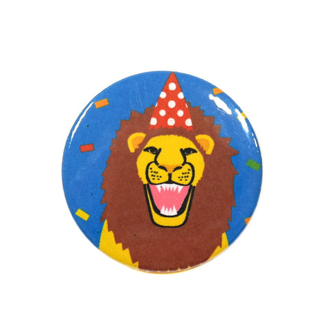 Party Animal Lion in a Party Hat Badge