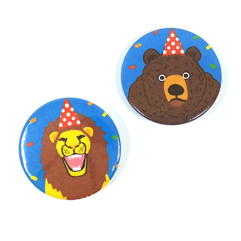 Party Animals Lion Bear Badges Main Image
