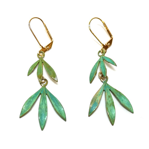 Green Patina Brass Bamboo Drop Earrings