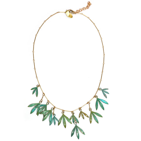 bamboo leaf brass verdigris necklace