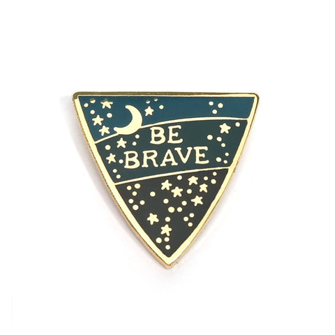 Be Brave Enamel Pin in Gold