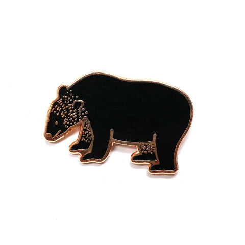 Black and rose gold bear enamel pin badge by Finest Imaginary
