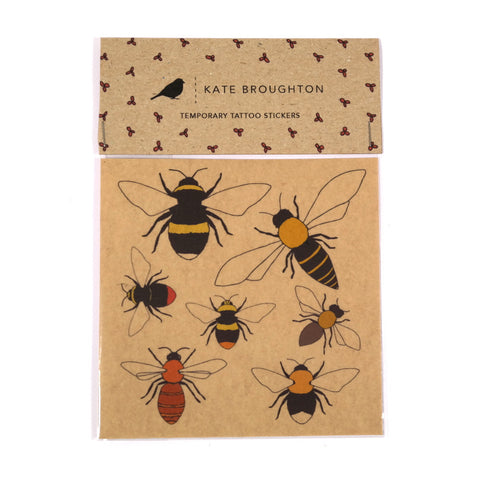 Pack of illustrated bee temporary tattoos