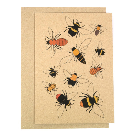 Greeting card with illustrated bees and containing a pack of seeds for planting