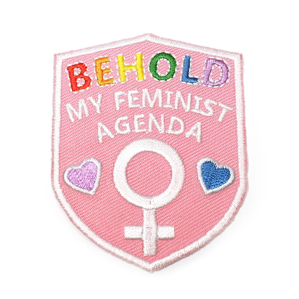 pink shield behold my feminist agenda embroidered patch
