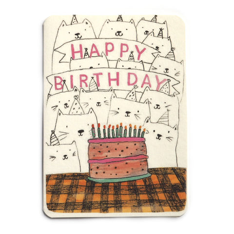 Cats and Cake Happy Birthday Card