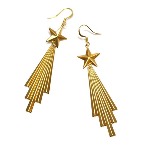 Blazing Your Trail Brass Comet Shaped Earrings